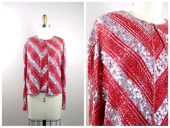 S/M Red and Pink Fully Sequined Jacket // Iridesce