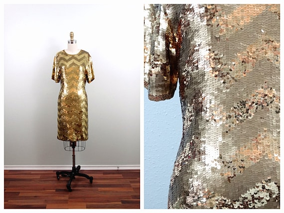 S | Metallic Gold Sequin Dress • Gold Sequined Dre