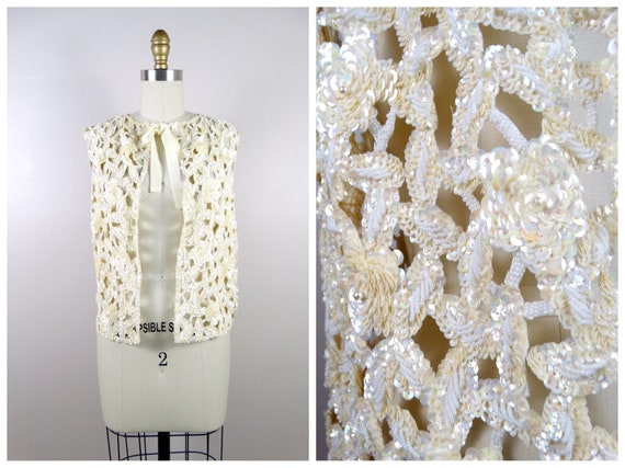 Rare Vtg Heavily Embellished Silk Top Pearls Sequins Beaded Tunic Blouse Sz M L