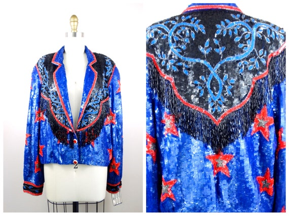 L/XL Western Sequined Beaded Fringe Jacket // Retr