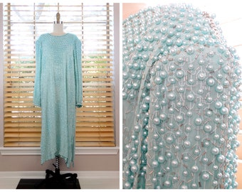 Plus Size Pearl Beaded Pastel Dress / Mint Green Silk Glass Beaded Gown / Heavily Embellished Pearl Gown by Judith Ann Plus