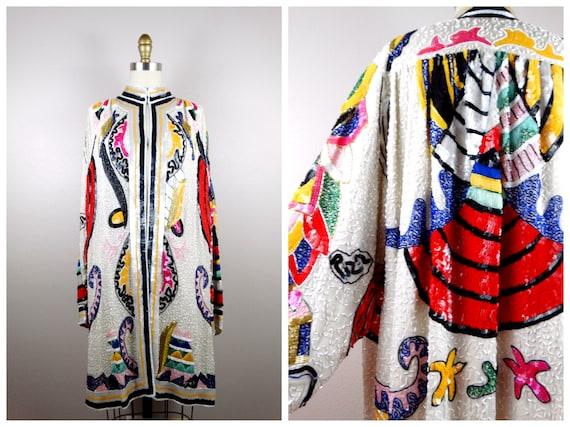 GLAMOROUS Retro Rainbow Sequined Kimono / Colorful