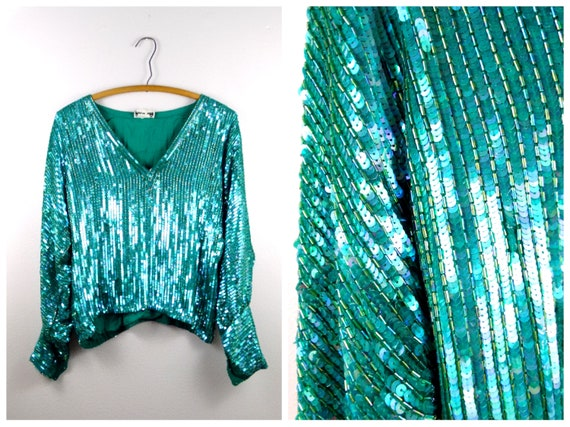 Teal Sequined Blouse / Iridescent Turquoise Sequin