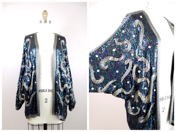 Jewel Beaded Fully Sequined Dolman Shrug // Black