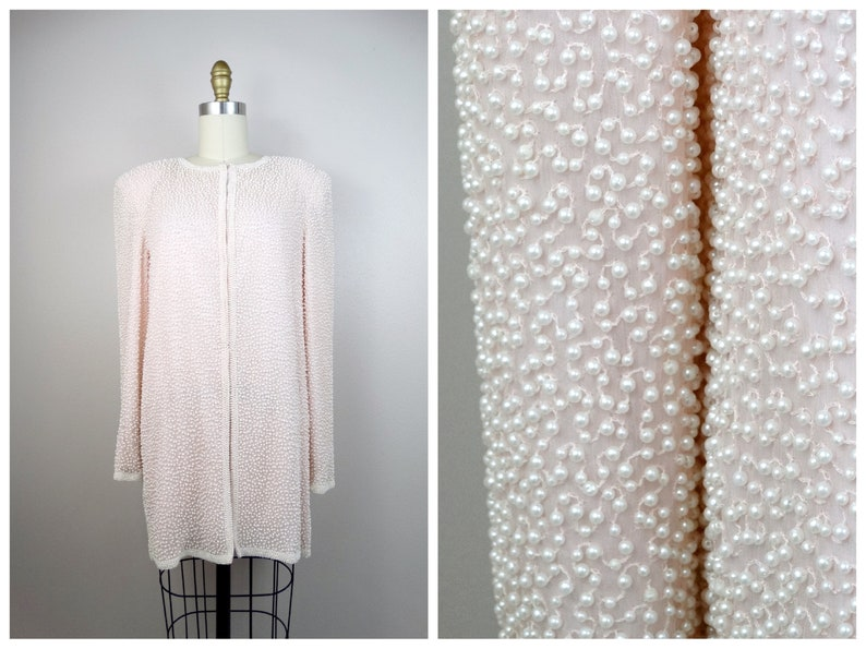 7b36f6d9a4 VTG Pearl Beaded Sequin Jacket    Fully Beaded Pale Pink Silk