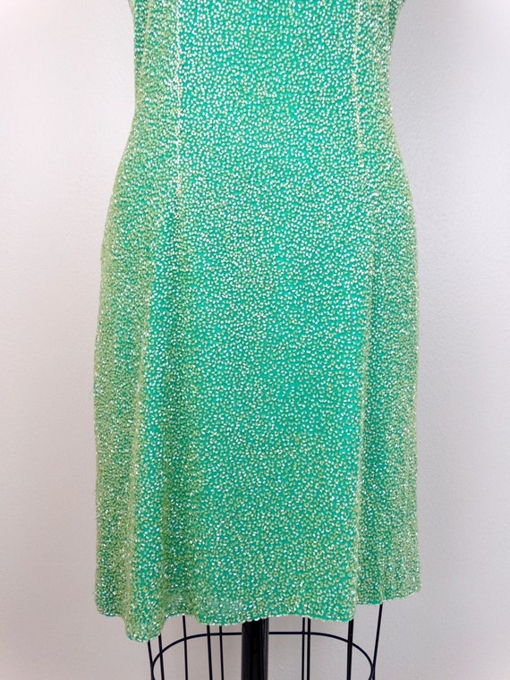 M/L Spring Green Yellow Beaded Dress / Amazing He… - image 3
