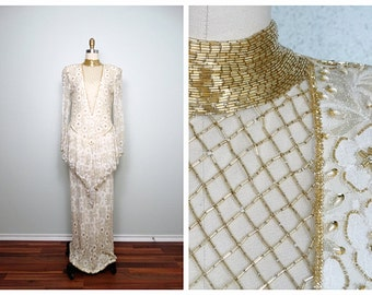 Gold Beaded Avant Garde Bridal Gown by Judith Ann Creations / Lace Peplum Gown / Ivory Pearl & Gold Wedding Dress from Braxae