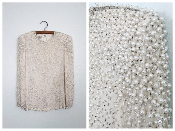 HEAVY Pearl Beaded Blouse / Long Sleeve Cream Pear