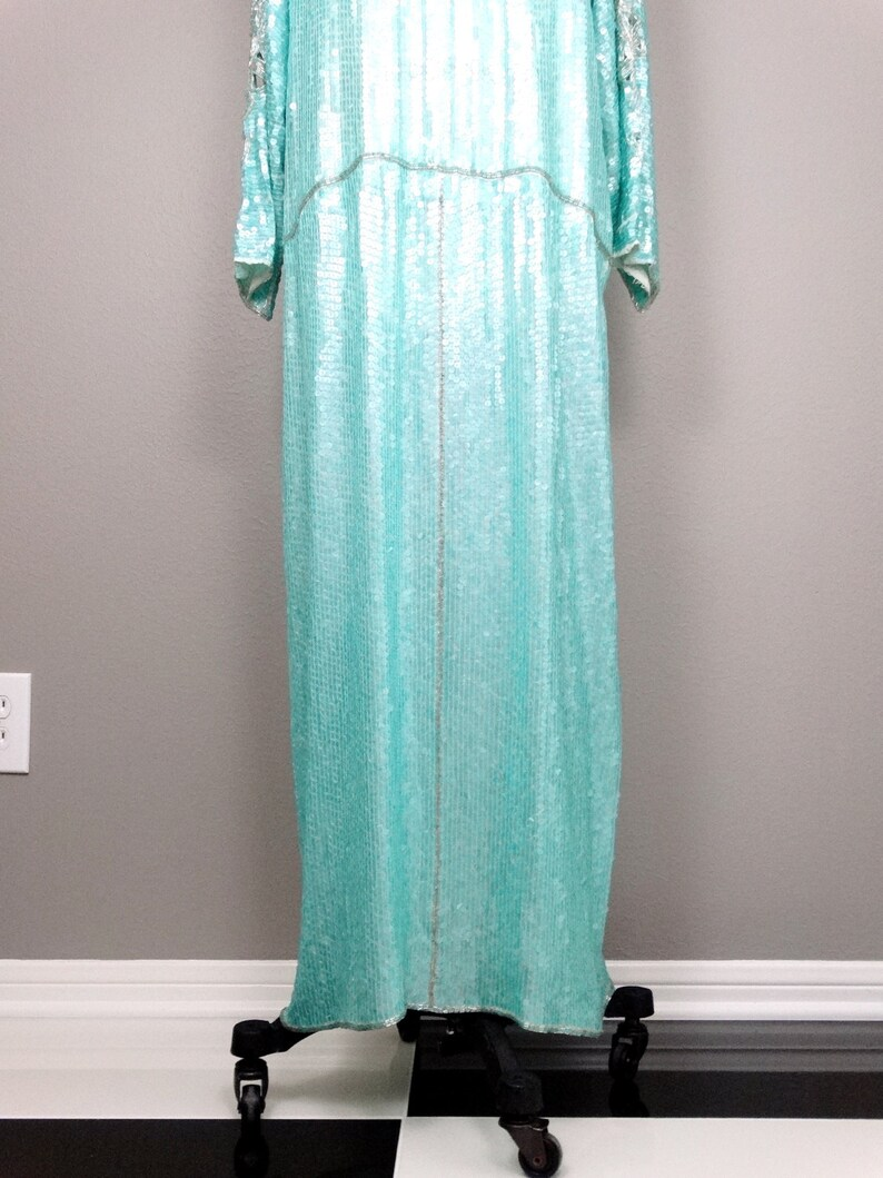 LXL Mint Green Sequin Gown  Pastel Teal Silver Beaded Dress  Peekaboo Shoulder Cutouts Sequined Gown  Flapper Gown  Flapper Dress