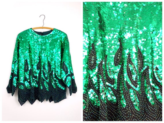 Plus Size Kelly Green Sequined Blouse // Emerald S