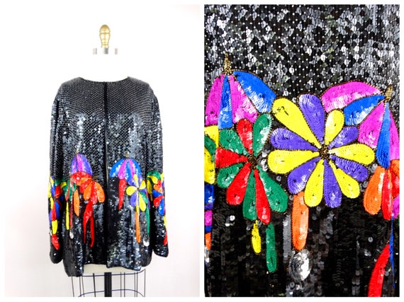 RETRO Novelty Sequin Jacket // Rainbow Umbrellas S
