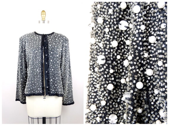 Heavy Pearl Beaded Jacket // Heavily Beaded Blaze… - image 1