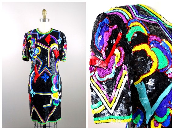 Abstract 80s Sequin Dress // Multi Color Art Deco