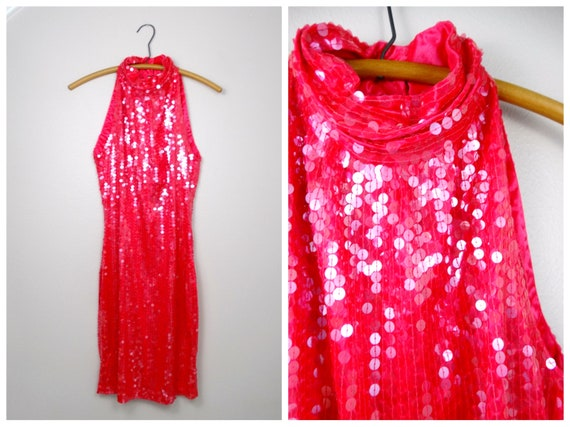 Strawberry Pink Sequined Dress // Neon Pink Sequin