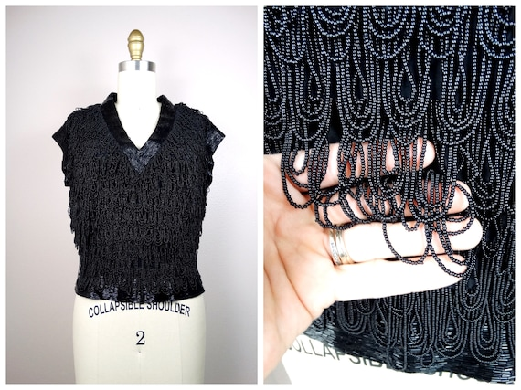 50s Loop Beaded Fringe Top by Bruce Arnold // Blac