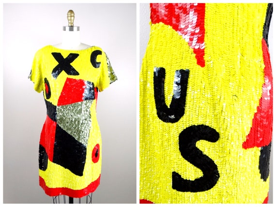 Pop Art Glam Sequined Dress // Funky Psychedelic N