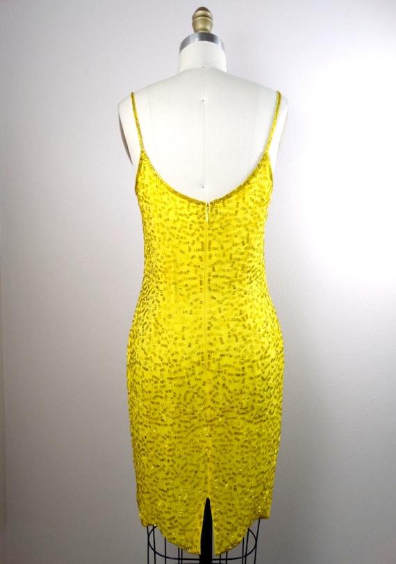 S/M Yellow Beaded Dress / Bright Fully Embellishe… - image 4