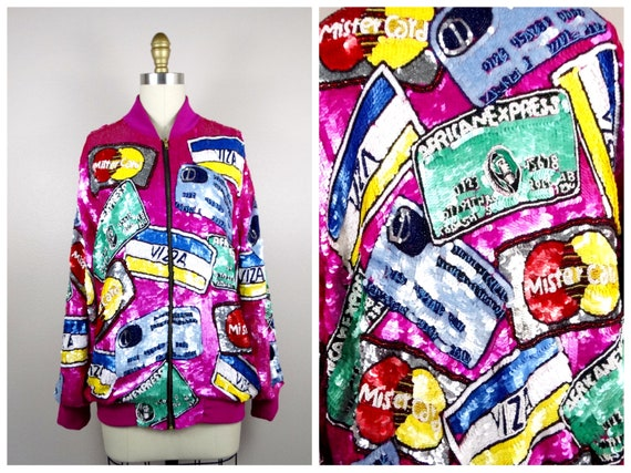 FuNkY Beaded Sequined Jacket // Novelty Sequin Bom
