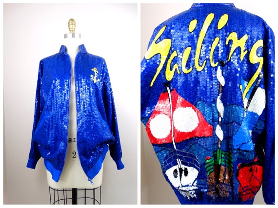 RETRO Novelty Sequin Bomber Jacket // Sailing Sequ