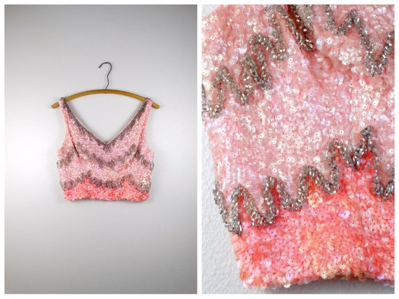 d8fb573409c Cute as a Cupcake 60s Beaded Crop Top // Ombre Pink Sequin | Etsy