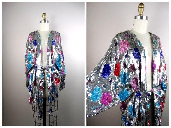 RARE Fully Sequined Kimono Coat // DAZZLING Sequin