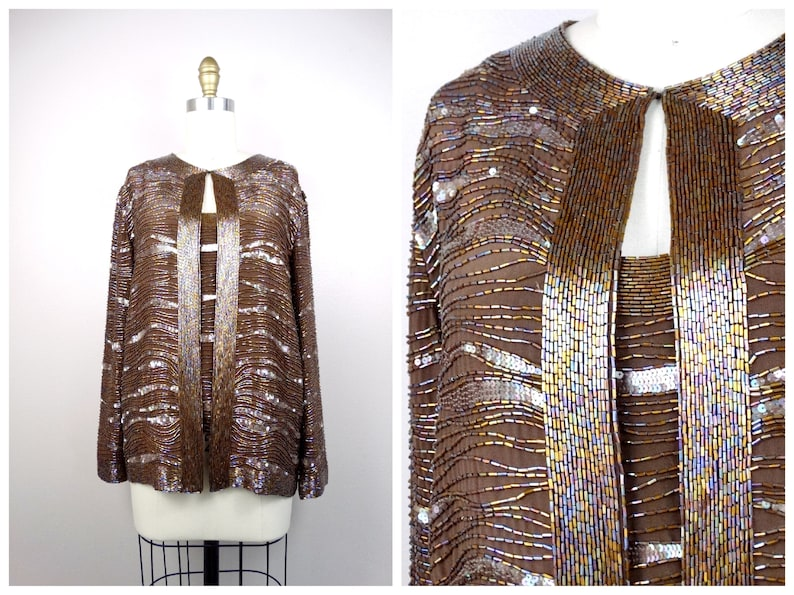 39f05efaac5 Heavy Beaded Sequin Top Jacket by Oleg Cassini   Heavily