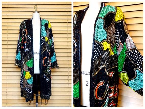 O/S Neon Beaded Sequined Kimono Coat / Colorful Se