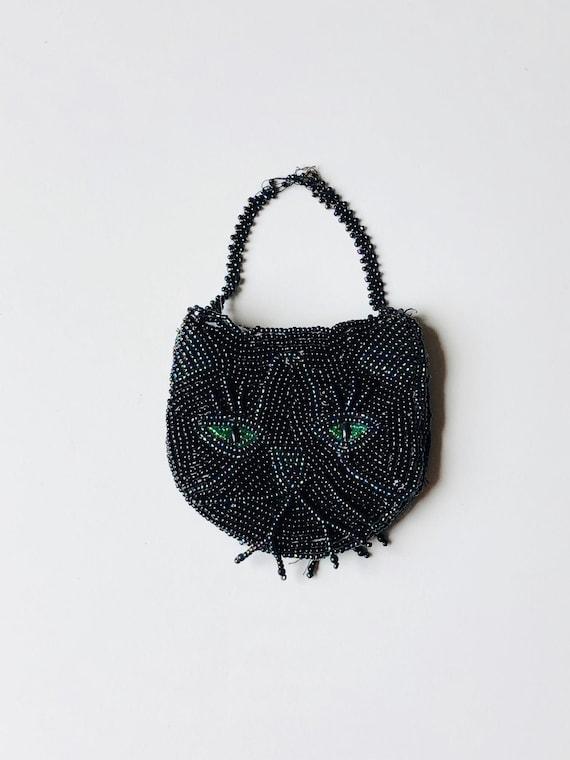 Antique Beaded Cat Purse / Black Cat Face w/ Green