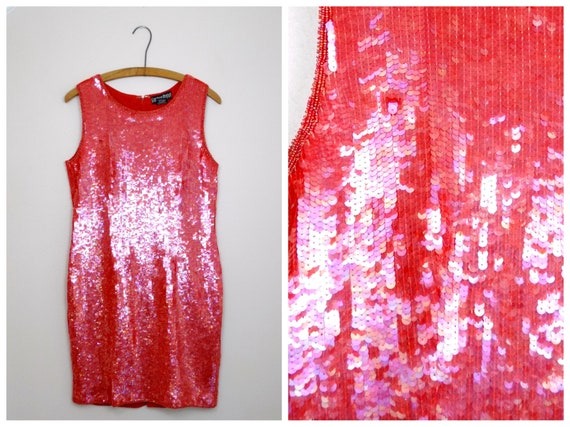 Vtg Silk Sequin Dress // Raspberry Red Sequined Be
