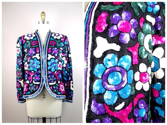Bright Floral Sequin Jacket / Vintage Fully Sequin