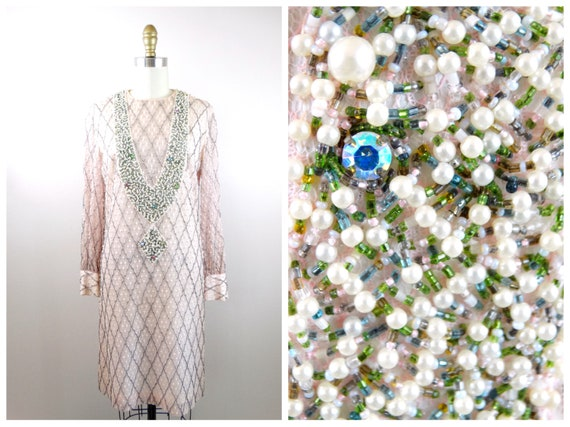 60's Pink Beaded Sequin Dress ‣ Pastel Pink Pearl