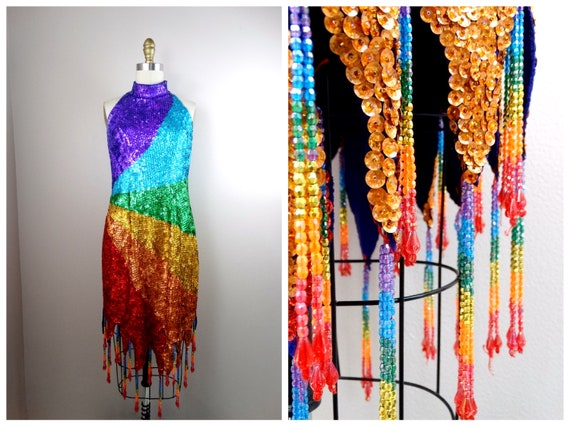 Rainbow Fringe Beaded Sequined Party Dress // Rain