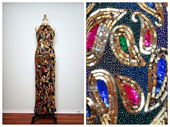 VTG Multicolor Beaded Gown // Art Deco Bead and Se