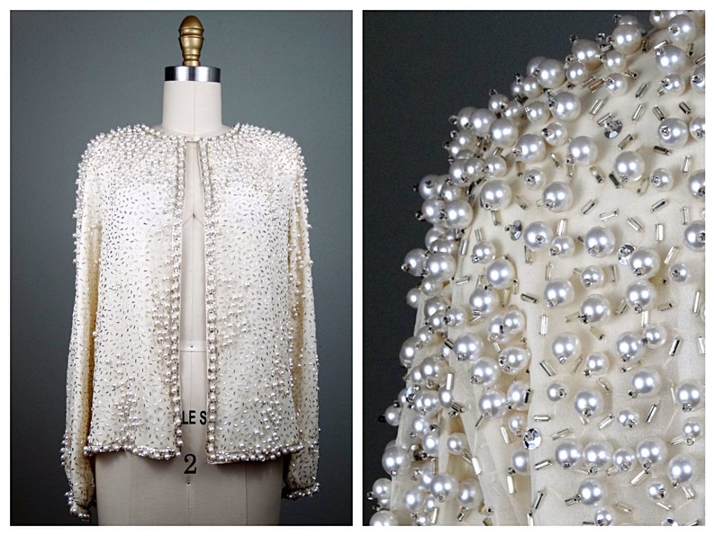 c49c46f1f7 Vintage Pearl Beaded Sequin Jacket    Heavily Ivory White
