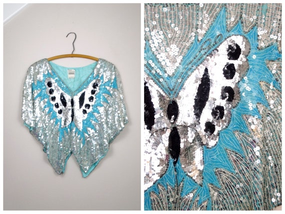 Flashy Sequin Butterfly Top // Pastel Blue Silk Se