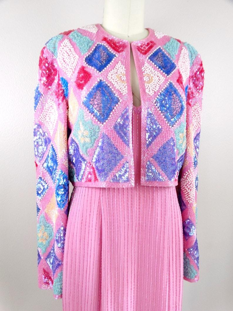 Vintage Pink Beaded  Dress \u2023 Pastel Pink Beaded Dress \u2023 Silk Embellished Dress