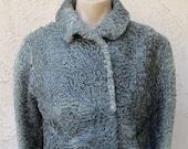 Vintage 1940 39 s Persian Swakara Karakul gray curly lamb fur jacket coat sz S M glam VLV