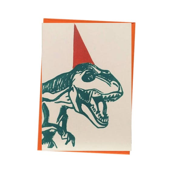 Party Dinosaur T Rex Blank Birthday Card Free Postage