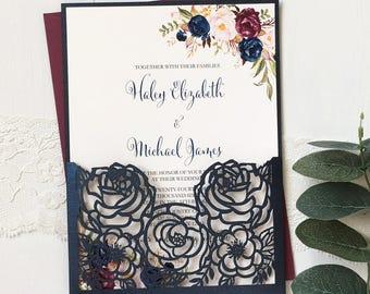 Laser Cut Wedding Invitation Set, Marsala\Floral Wedding Invitation, Elegant Wedding Invitation, Navy, Burgundy Wedding
