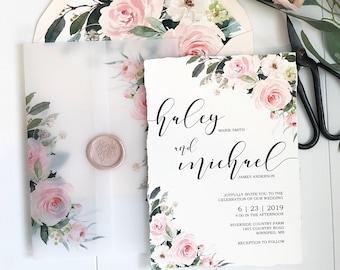 Vellum Wrap, Blush Floral Wedding Invitation with Wax Seal, Blush Vellum Wedding Invitation, Pink Floral Wedding Invitation, Bohemian