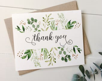 thank you cards rustic thank you cards weddings modern greenery thank you notes notecards wedding stationary weddings - Thank You Note Cards
