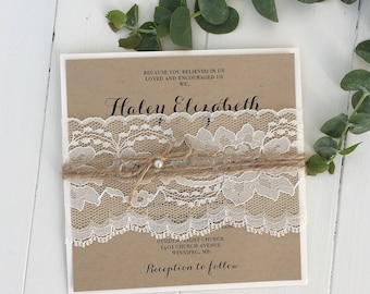 Rustic Wedding Invitation, Lace Wedding Invitation, Kraft Wedding Invitation,  Shabby Chic Wedding Invitation, Vintage Wedding Invitation