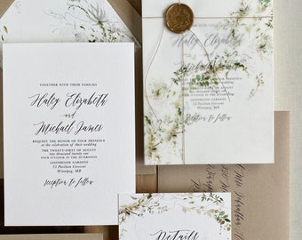Rustic Wedding Invitation, Greenery Wedding Invitation with Vellum Wrap and Gold Wax Seal, Botanical Wedding Invitation Set