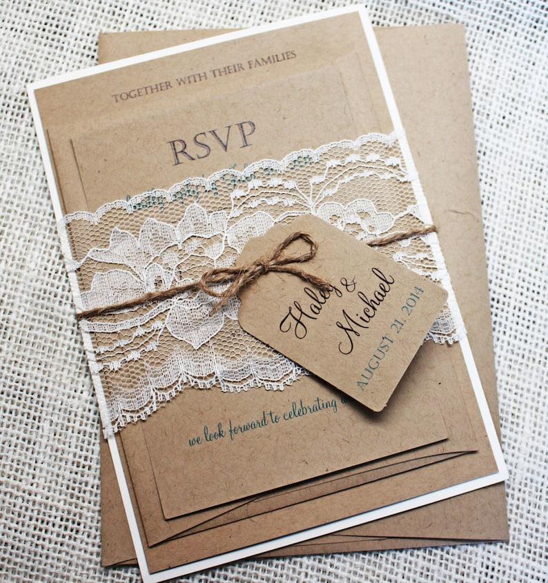 Rustic Wedding Invitation Lace Kraft Vintage Invite