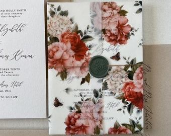 Rustic Vintage Floral Vellum Wrap and Wax Seal Wedding Invitation Set, Garden Wedding Invitation for Spring or Summer Wedding