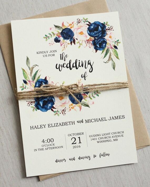 Rustieke Navy Bruiloft Uitnodiging Afdrukbare Modern Boho Wedding Uitnodigen Instellen Rustieke Bloemen Bruiloft Uitnodiging Boho Chic Wedding