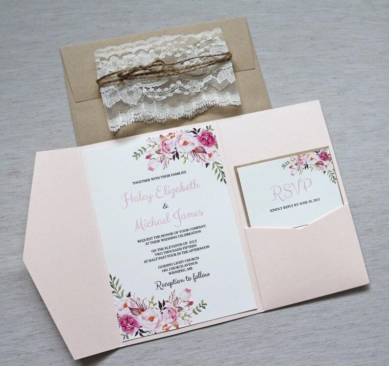 Pink Floral Wedding Invitations Bohemian Invitation Lace Boho Chic Blush Vintage
