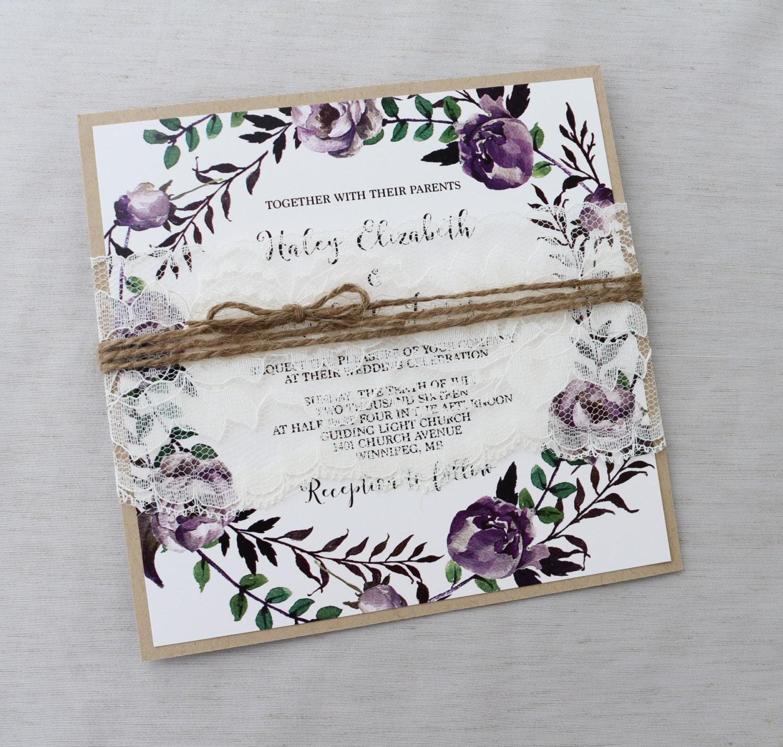 Rustic Burgundy Purple Floral Script Wedding Invitations: Rustic Purple Floral Wedding Invitation Lace Wedding