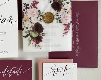 Burgundy Floral Vellum Wedding Invitation with Gold Wax Seal, Greenery with burgundy and blush Flowers. wedding invites, vellum wrap