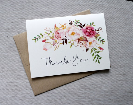 Watercolour Wedding Thank You Cards Thank You Cards Etsy